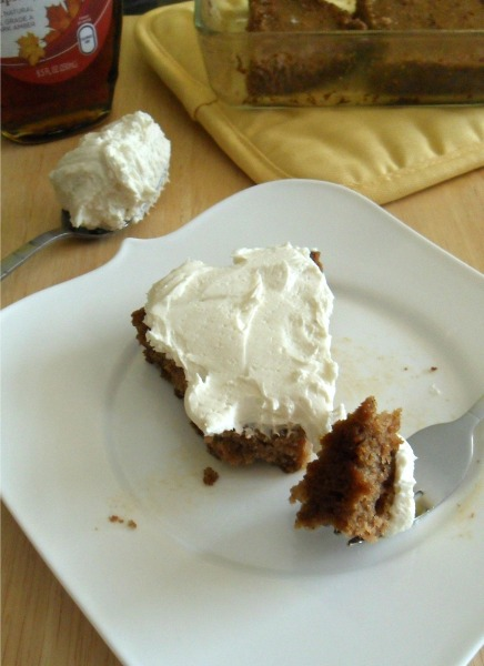 applesauce cake with maple buttercream frosting