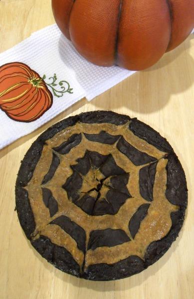 spiderweb swirl fudge brownies