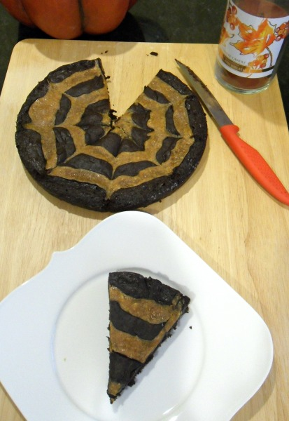 spiderweb swirl pumpkin brownies