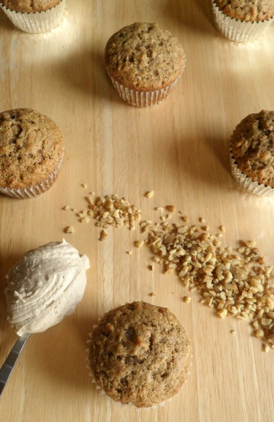 browned butter frosting topped applesauce nut cakes