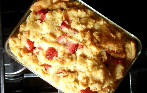 lemon strawberry bread pudding