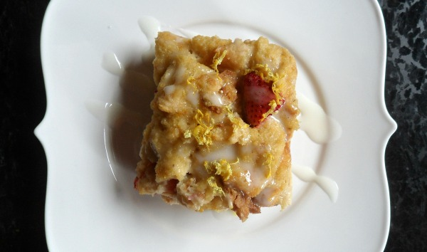 strawberry lemon bread pudding